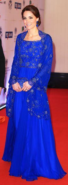 The Duchess of Cambridge, dazzling in bespoke Jenny Packham while on the royal tour to India and Bhutan. #KateMiddleton #JennyPackham