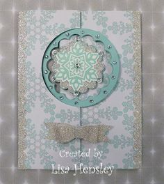 Festive Flurry Snowflake Spinner card by - Cards and Paper Crafts at Splitcoaststampers Paper Christmas Decorations, Christmas Cards To Make, Xmas Cards, Holiday Cards, Christmas Paper, Christmas 2014, Christmas Ideas, Flip Cards, Fancy Fold Cards