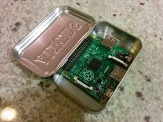 The newest Raspberry Pi Model A+ finally fits inside an Altoids tin. Looks like it's a little squeeze but a much better fit than the bigger boards.