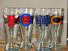 custom hand painted sports pilsners with chalkboard panel from Chic Chalk Designs