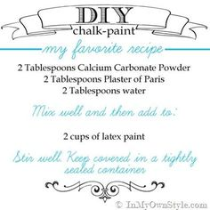 Smooth-and-Most-Durable-Chalk-Paint-Recipe.the best recipe for painting high use pieces, like kitchen tables & outdoor furniture. Calcium Carbonate Powder creates a smooth mix with no graininess. DAP Plaster of Paris is very smooth. Diy Chalk Paint Recipe, Make Chalk Paint, Chalk Paint Projects, Annie Sloan Chalk Paint, Milk Paint, Paint Ideas, Diy Projects, Do It Yourself Furniture, Do It Yourself Home