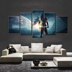 Home Decor Painting & Calligraphy Prints Wall Art Poster 5 Panel Video Game Characters Paintings Canvas Pictures Home Decor Hotel Modular Bedside Background Frame Modern Design