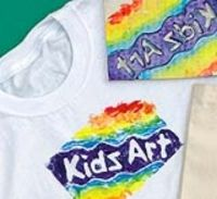 """""""Print & Go"""" T-Shirts.  Printing creative T-shirts and fabrics doesn't always require stencils and screens — students can easily design their own giant stamps and paint them any way they want. Even if each shirt displays the same message, each will be a completely unique work of art! This process is perfect for group settings — schools, camps, daycare centers, clubs, family reunions and special events — but it is also ideal for countless home decorating and craft projects."""
