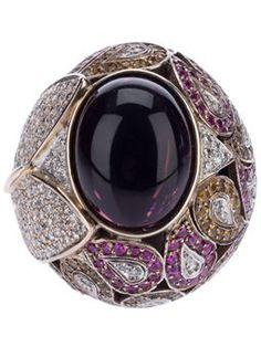 anillo de bola Robeline con zafiro rosa y diamantes - ATHENA