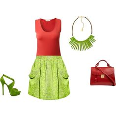 """Warm Spring - red/green inspiration"" by adriana-cizikova on Polyvore"