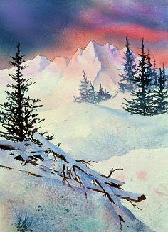 Ski View. watercolor by Teresa Ascone