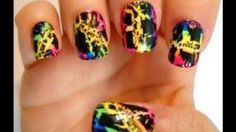 Nail Tutorial, Lisa Frank Inspired Nail Series--Rainbow Crackle--YouTube Video by Dollface22772