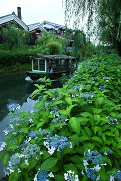 Boat in canal in Japan