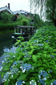Boat in canal in Japan