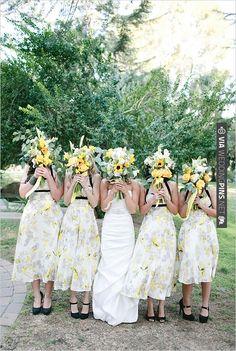 yellow and black BHLDN bridesmaid dresses   VIA #WEDDINGPINS.NET