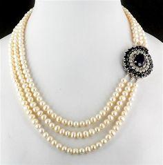 Triple Strand Blue Sapphire Clasp Pearl Necklace in Dixon