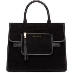 Marc Jacobs Black Suede Madison Tote (2,230 SAR) ❤ liked on Polyvore featuring bags, handbags, tote bags, black tote purse, zippered tote bag, handbags totes, black tote bag and black tote handbag