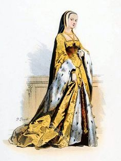Anne of Brittany. Queen of France. Ancien Régime fashion. French Renaissance clothing. France medieval tudor costume