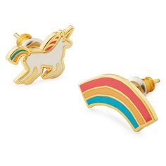 Yellow Owl Workshop Unicorn & Rainbow Mismatched Earrings ($20) ❤ liked on Polyvore featuring jewelry, earrings, earring charms, bridal stud earrings, unicorn jewelry, unicorn earrings and studded jewelry