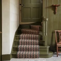 Repost from for whom we supplied this lovely Peacock stair runner at Chettle House. We love the Olive paint colour! Painted Staircases, Painted Stairs, Painted Floors, Timber Staircase, Staircase Ideas, House Stairs, Carpet Stairs, Gloucester House, Cottage Hallway
