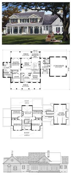 Plantation House Plan 86148 | Total Living Area: 2994 sq. ft., 4 bedrooms & 3 bathrooms. #houseplan #plantationstyle