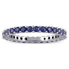 Miadora 10k White Gold Sapphire Eternity Ring (Size 4.5), Women's, Blue