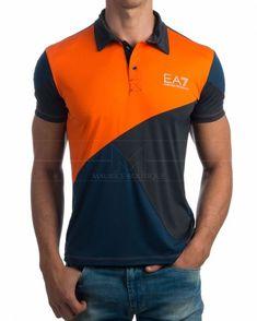 Polo Emporio Armani Tennis Classic M Polo 1 - Rojo Polo Shirt Design, Polo Design, Tee Design, Camisa Polo, Mens Polo T Shirts, Men Shirt, T Shirt Time, Uniform Design, Pants Pattern