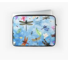 Laptop Sleeve with 'There Be Dragons' whimsical dragonfly art by Nola Lee Kelsey