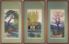 "Pine (Matsu), Bamboo (Take) & Plum (Ume) at the Friendly Garden by Toshi Yoshida | Japanese woodblock print triptych set | images 9 7/8"" x 20 1/8"" tall (Frame size 15 3/4"" x 30 5/8"" overall) 