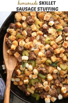 This simple and delicious stovetop sausage stuffing is made completely from scratch! Quick Recipes, Easy Dinner Recipes, Delicious Recipes, Easy Meals, Cooking Recipes, Tasty, Yummy Food, Stuffing Recipes