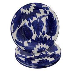Handmade Set of 4 Le Souk Ceramique Jinane Design Stoneware Dinner Plates (Tunisia)