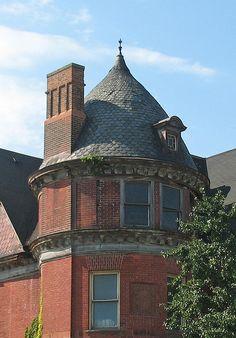 Turret on the abandoned Gillis House in Brush Park, Detroit, MI