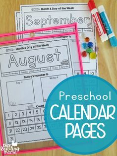 FREE Preschool Calendar Pages
