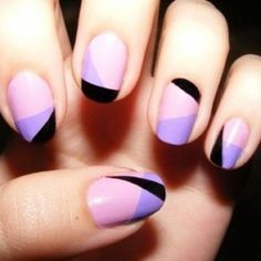 purple geometric diagonal nails