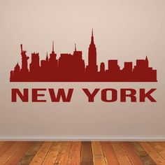 New York USA Manhattan Cityscape Skyline Wall Art Sticker Wall Stickers India, City Wall Stickers, Removable Wall Stickers, Wall Decals, Wall Art, Interior Walls, Baseball Hat, Manhattan, Skyline