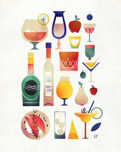 Creative Design, Drink, and Illustration image ideas & inspiration on Designspiration Magazine Illustration, Creative Illustration, Flat Illustration, Food Illustrations, Graphic Design Illustration, Digital Illustration, Cocktail Illustration, Arte Pop, Graphic Design Inspiration