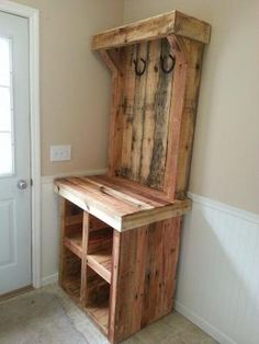 Build a rustic pallet coat rack for your mudroom. -- like the general idea of combining shoe cubbies/drop zone table/hooks by Cindi Porsberg
