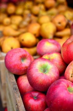 I love to visit fruit stands in the fall where they sell apples in wooden boxes just like these!