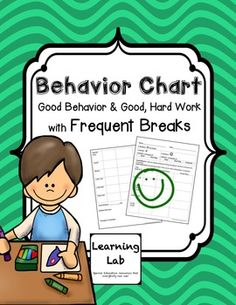 This is a behavior chart I used for a student with Autism that needed frequent, short breaks. It took a few adjustments but this is the chart we used for most of the year, with the best results. The goal is to make the chunks of time longer before giving a reward.
