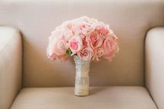 Pink Rose Bouquet with Crystal Wrap      Photography: Chung Li Photography     Read More:   http://www.insideweddings.com/weddings/romantic-city-hall-wedding-with-korean-influences-in-san-francisco/707/