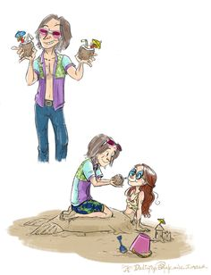 Rumbelle at the beach