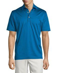 Solid Lisle-Knit Cotton Polo Shirt, Blue - Peter Millar