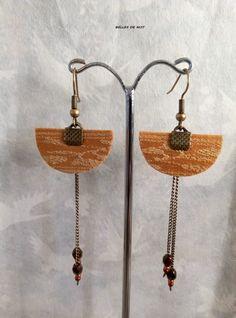 Boucles d'oreilles Japonisantes jaune safran et perles de verre