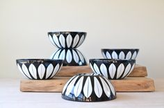 """SALE 1 of 6 Black + White Cathrineholm Lotus 5.5"""" Bowl, Near Mint, Scandinavian Mid-century, Made in Norway, Arne Claussen & Grete Prytz by NewSwedenVintage on Etsy https://www.etsy.com/listing/237862301/sale-1-of-6-black-white-cathrineholm"""