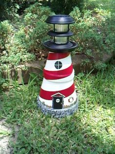 New England Style Hand Painted Solar Lighthouse made by John.