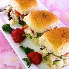 The Girls' Chicken Sandwiches | Chicken salad made with green onions and poppyseed dressing is served on sweet Hawaiian-style rolls .