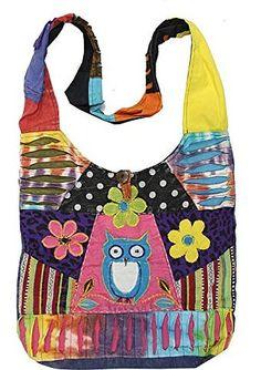 KayJayStyles Hippie Hobo Sling Cross body Pocket Owl Bag Nepal
