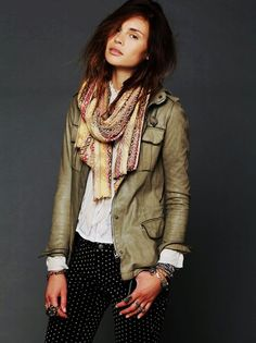 Like the dark trim + style (Fitted Green Women Military Leather Jacket - Women Military Leather Jacket)