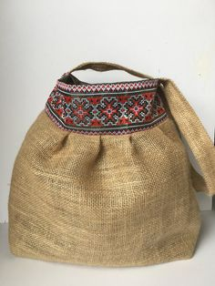 Linen bag with embroideryed pattern, handmade bag