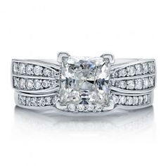 Princess Cubic Zirconia Sterling Silver 2-Pc Bridal Ring Set 1.96 Ct  style number: r742  $70.99