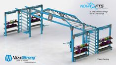 MoveStrong Nova XL functional training station custom design with extension monkey bar bridges and In-Line fitness storage options