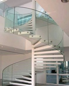 glass railing wood spiral stairs,spiral staircase with glass balustrade,modern spiral staircase design Spiral Stairs Design, Railing Design, Spiral Staircase, Staircase Design, Staircase Ideas, Glass Stairs, Glass Railing, Staircase Railings, Wooden Staircases