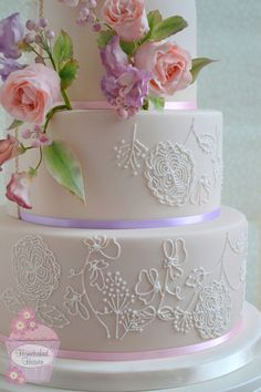 """Blush"" #wedding cake design, decorated with #blush #pink #DavidAustin #rose and rosebuds, #sweetpeas and #snowberries, with royal icing piping reflecting the sugar #flowers."