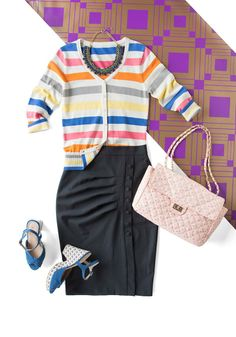 Take a classic pencil skirt and add on-trend touches such as a colorfully striped cardigan, patterned wedges, and a statement necklace. A novelty printed carryall like the In Pursuit of Confection Bag keeps this outfit fresh and fun, yet still ideal for the office. #work #style