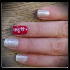 Glitter Floral Nails
